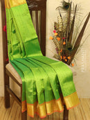 Silk Cotton saree green and magenta pink with allover self emboss Jacquard and rich zari border