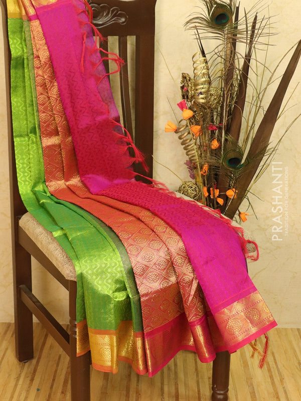Silk Cotton saree green and magenta pink with allover self emboss Jacquard and rich korvai border