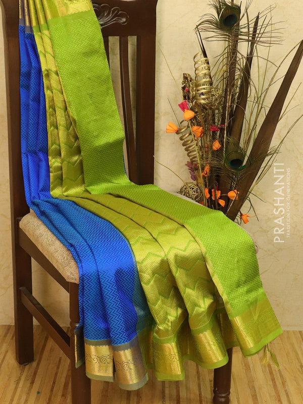 Silk Cotton saree blue and green with allover self emboss Jacquard and rich korvai border
