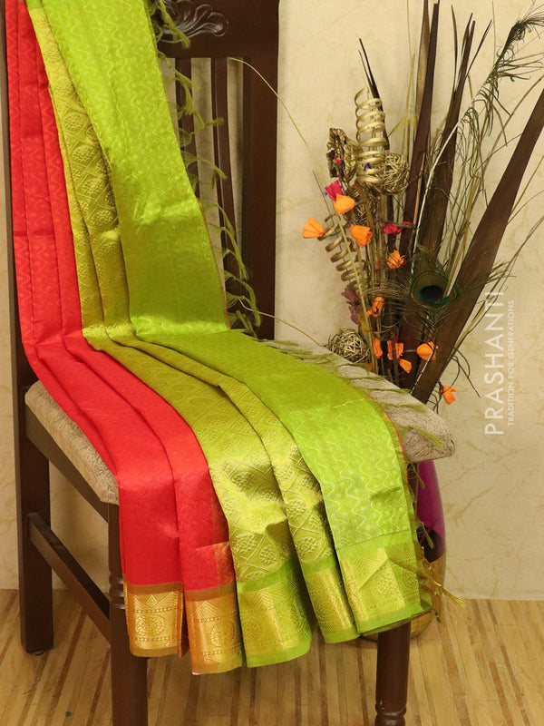 Silk Cotton saree red and green with allover self emboss Jacquard and rich korvai border