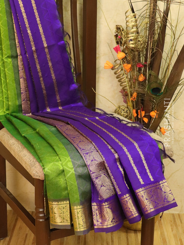 Silk Cotton saree green and violet with allover self emboss Jacquard and rich korvai border