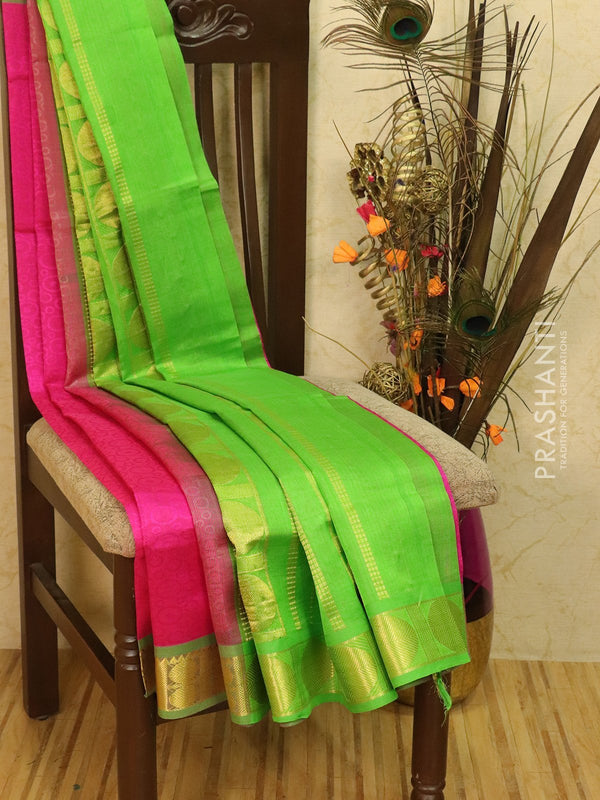 Silk Cotton saree pink and green with allover self emboss Jacquard and rich korvai border