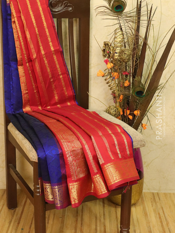 Silk Cotton saree blue and maroon with allover self emboss Jacquard and rich korvai border