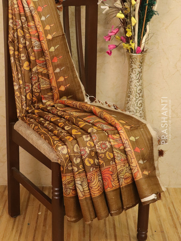 Pure tussar silk saree brown with allover kalamkari prints and simple border