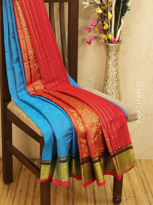 Semi silk saree blue and maroon with self emboss and zari border