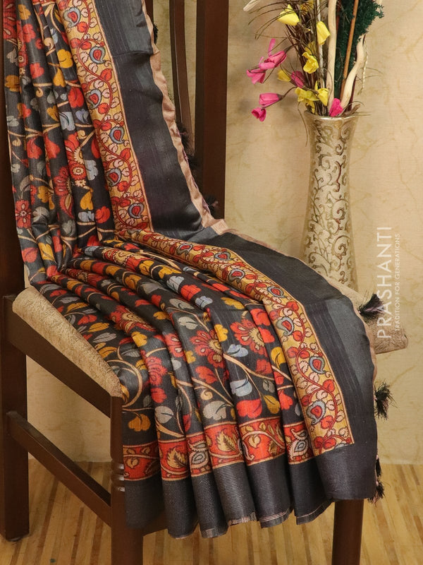 Pure tussar silk saree elephant grey with allover kalamkari prints and simple border
