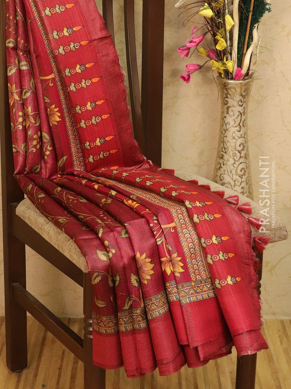 Pure tussar silk saree maroon with allover kalamkari prints and simple border