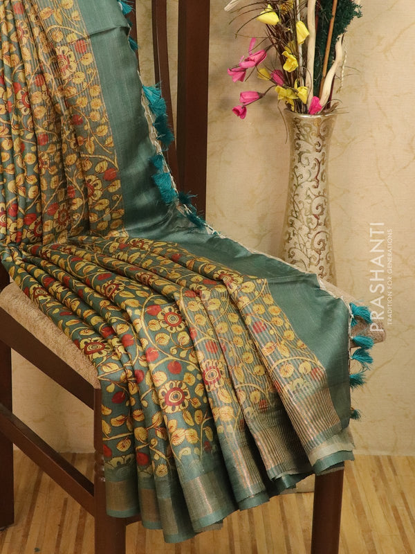 Pure tussar silk saree green with allover kalamkari prints and simple border