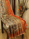 Pure tussar silk saree beige and orange with allover kalamkari prints and simple border