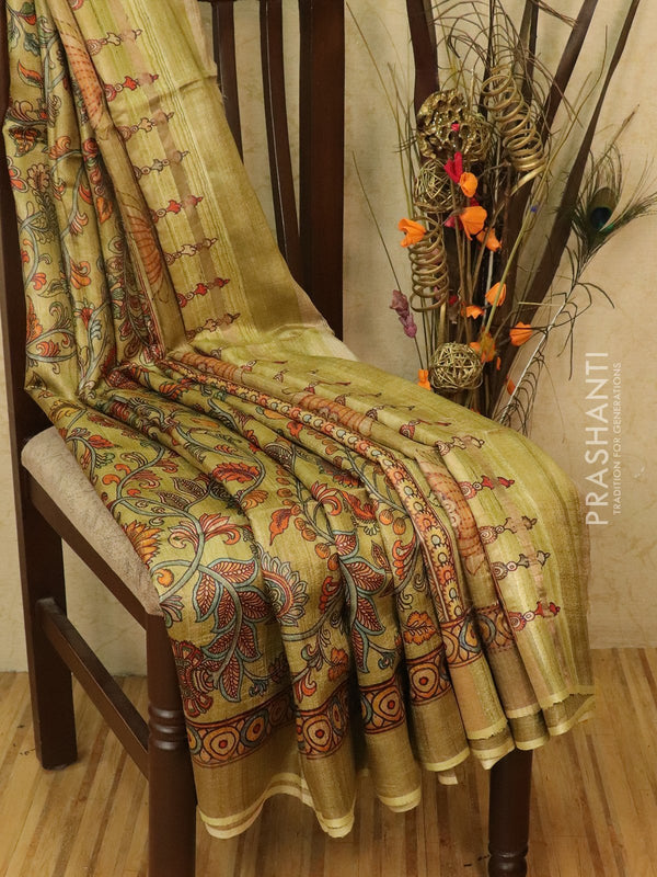 Pure tussar silk saree pastel green with allover kalamkari prints and simple border