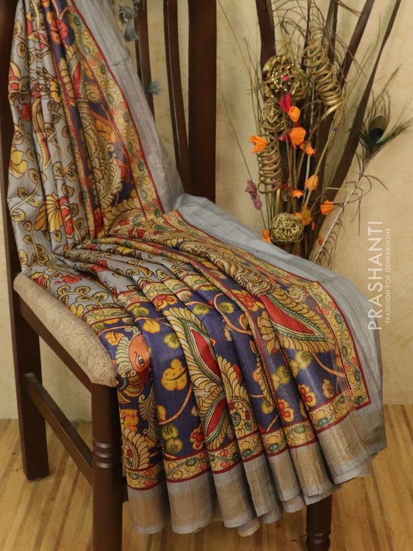 Pure tussar silk saree grey with allover kalamkari prints and simple border