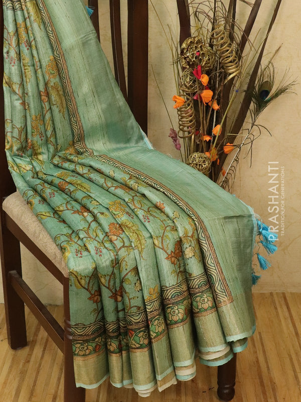 Pure tussar silk saree blue with allover floral prints and simple border