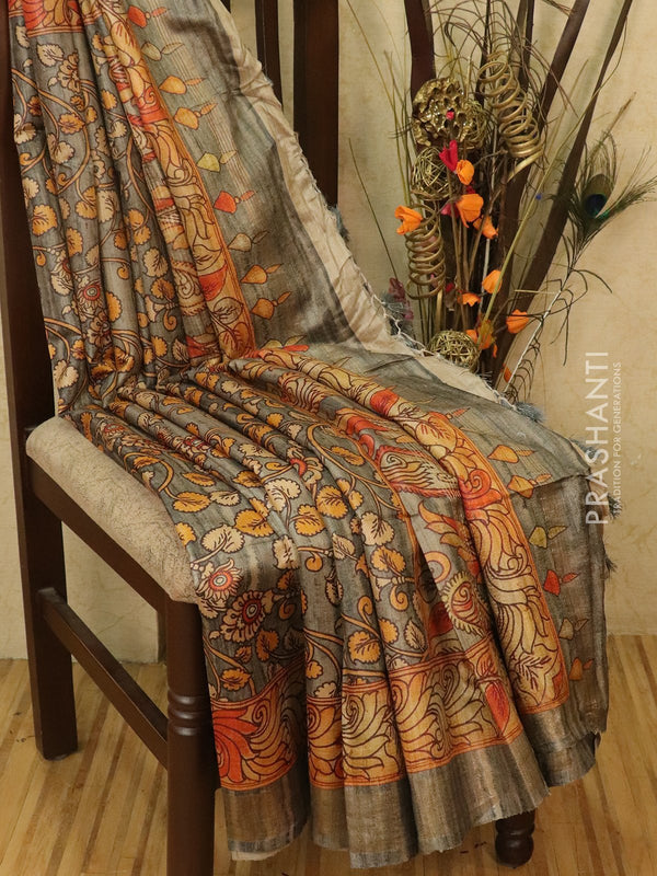 Pure tussar silk saree grey with allover floral prints and simple border