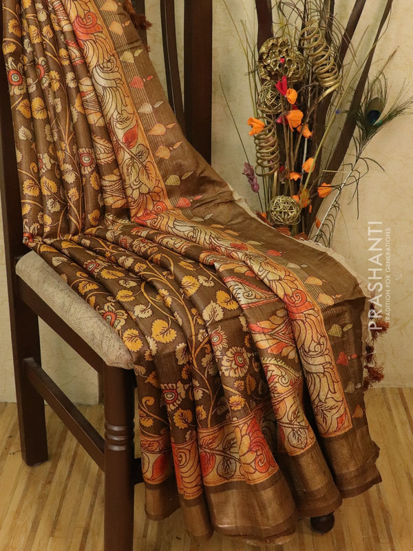 Pure tussar silk saree brown and beige with allover kalamkari prints and simple border