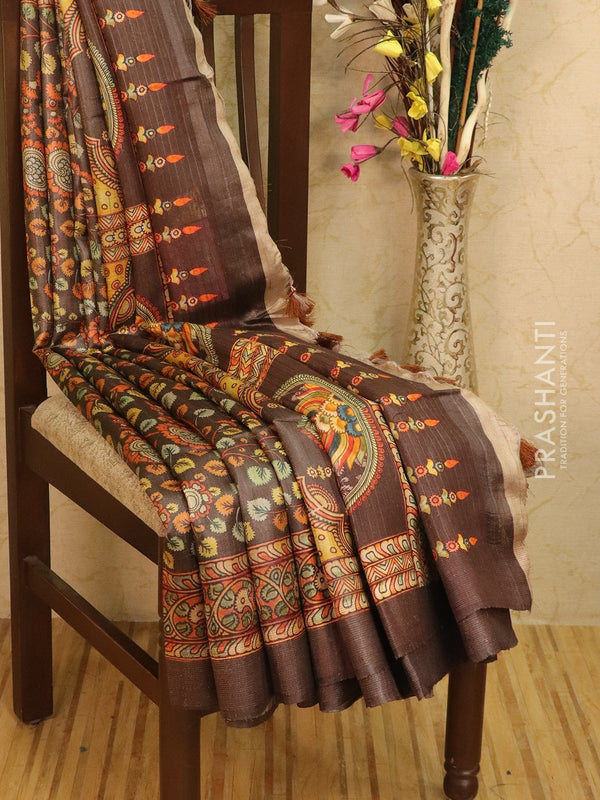 Pure tussar silk saree brown with allover floral prints and simple border