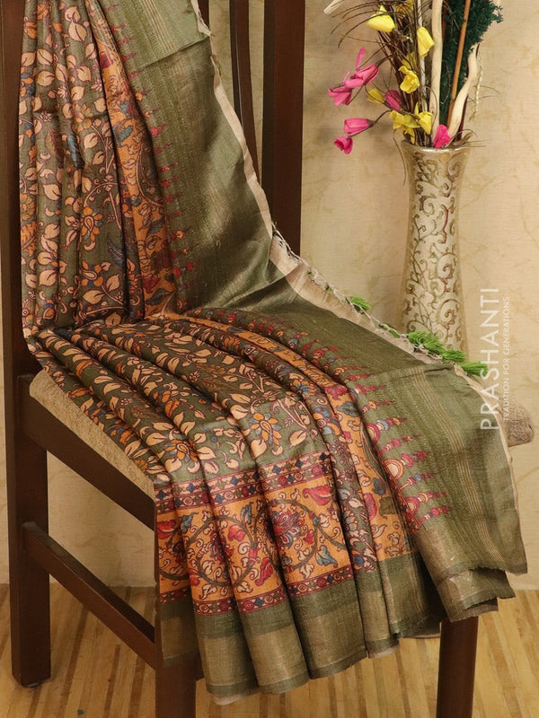 Pure tussar silk saree green with allover floral prints and simple border