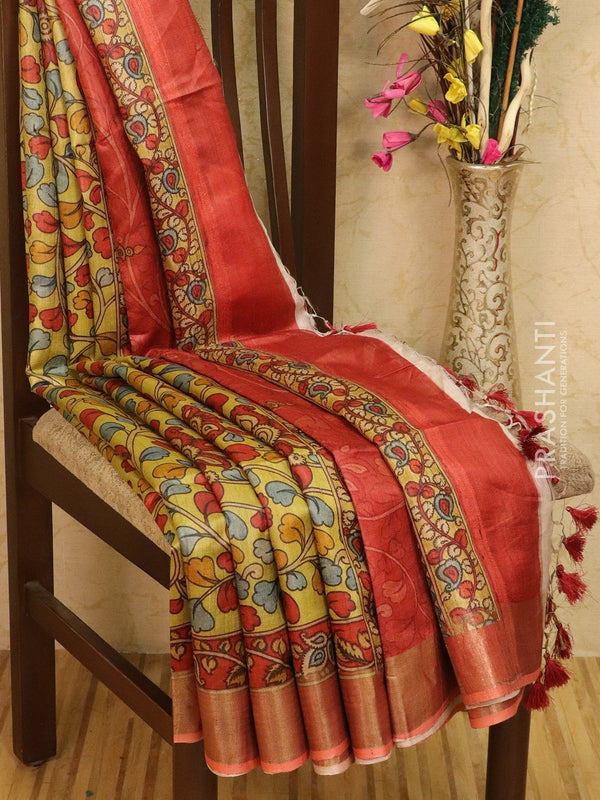 Pure tussar silk saree green and maroon with allover floral prints and simple border