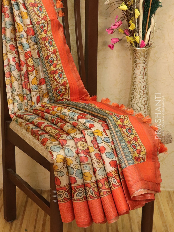 Pure tussar silk saree beige and orange with allover floral prints and simple border
