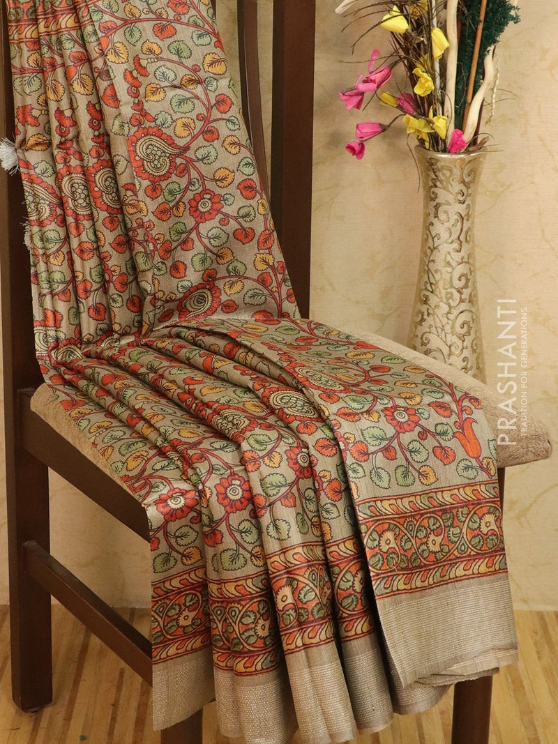 Pure tussar silk saree beige with allover floral prints and simple border
