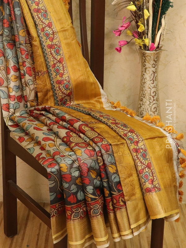 Pure tussar silk saree beige and mustard with allover floral prints and simple border