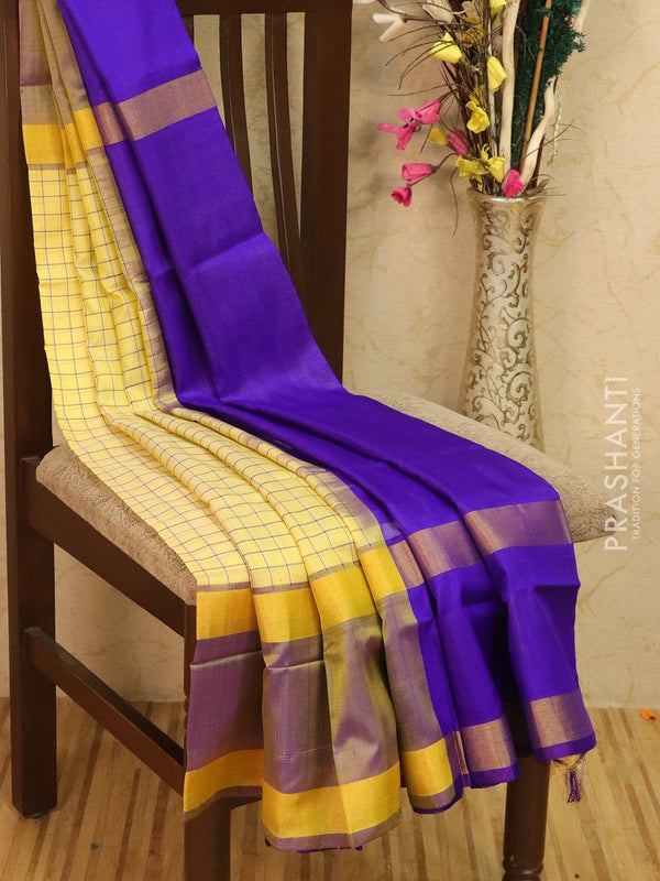 Pure Uppada silk saree sandal and violet checked pattern with rettapet zari border