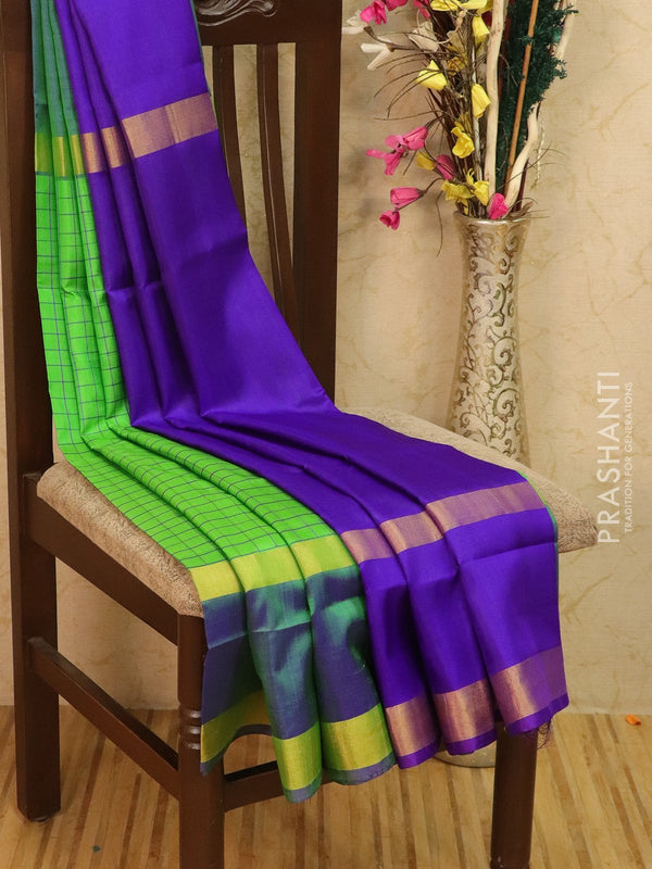 Pure Uppada silk saree green and violet checked pattern with rettapet zari border