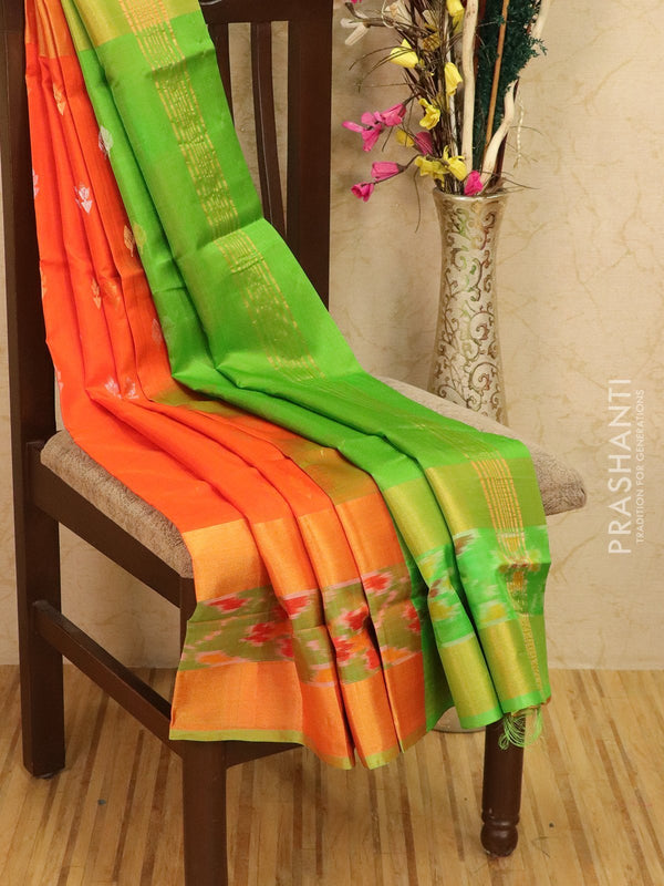 Pure Uppada silk saree orange and green with thread woven buttas and rich ikkat border