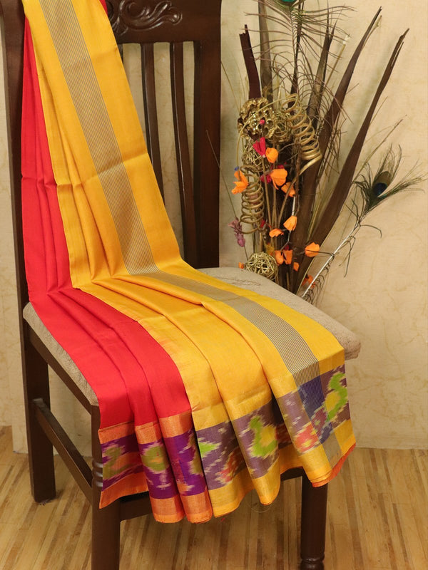 Pure Uppada silk saree red and mustard with ikat woven border