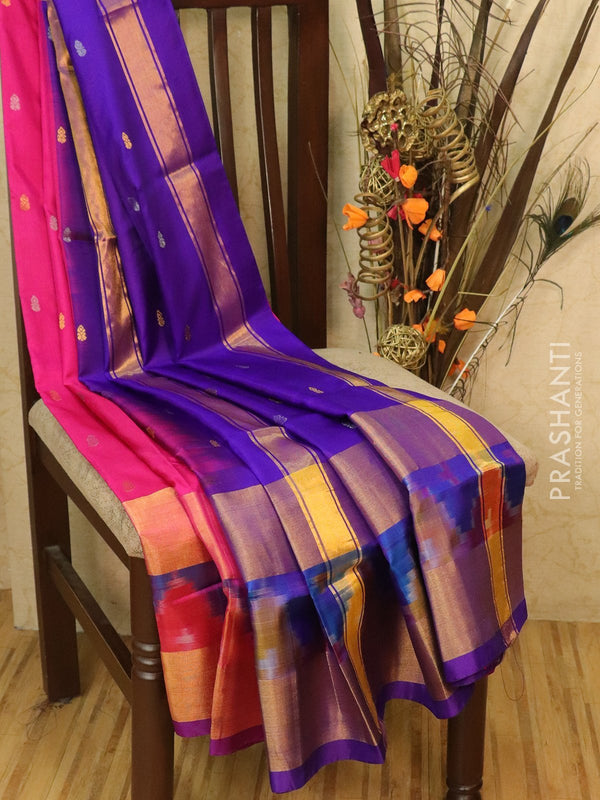 Pure Uppada silk saree pink and blue with ikat woven border and body buttas