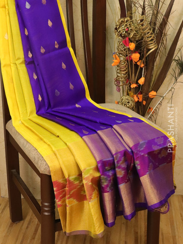 Pure Uppada silk saree yellow and violet with ikat woven border and body buttas