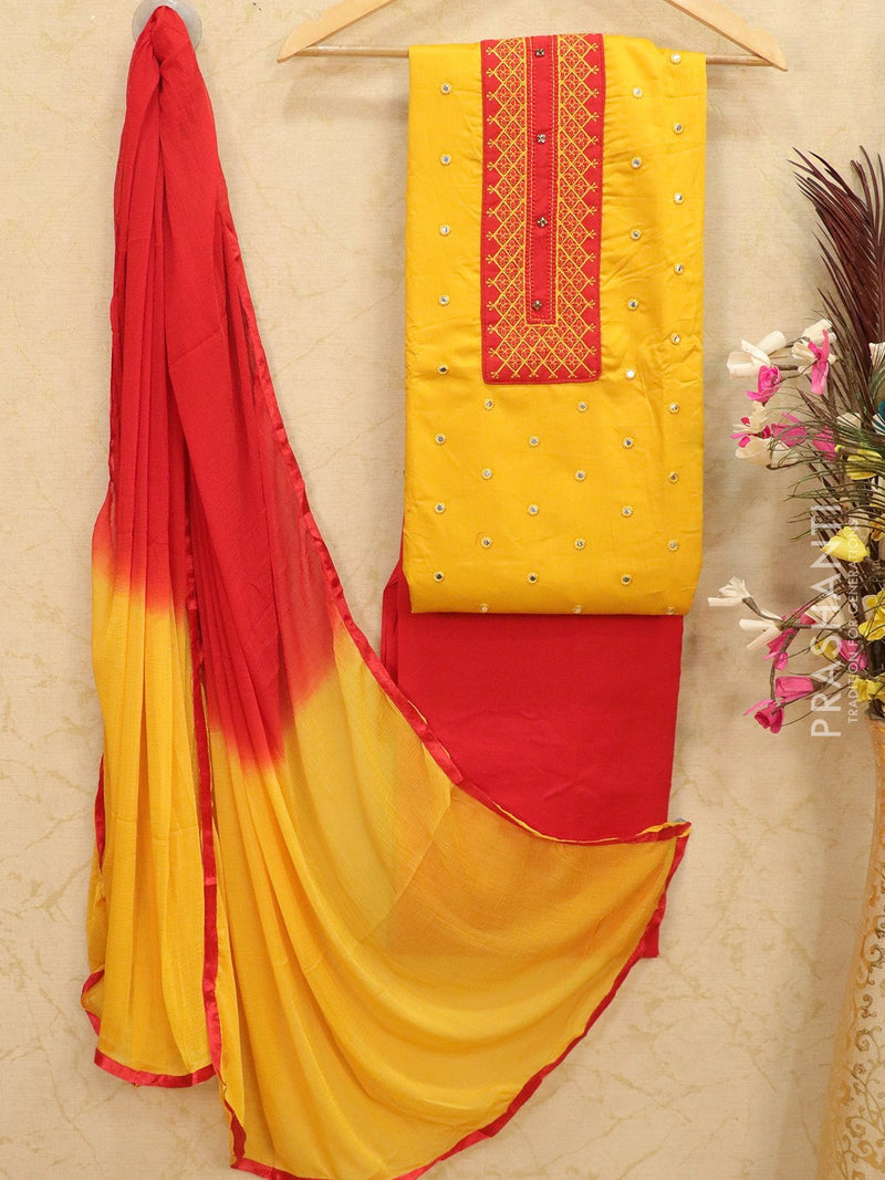 Cotton dress material yellow and red with embroided top and duapatta