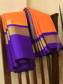 Kuppadam silk cotton saree orange and violet with zari checked body and simple border