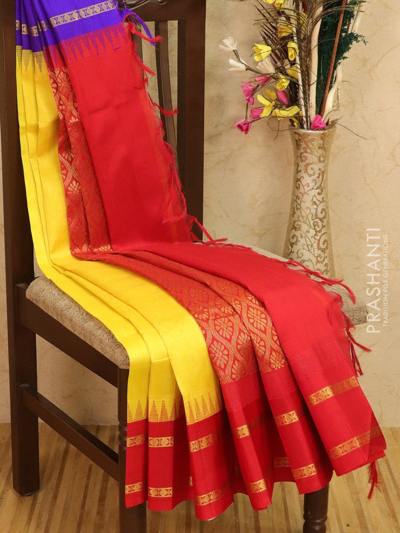 Kuppadam silk cotton saree yellow and red with thread woven temple rettapet ganga jamuna border