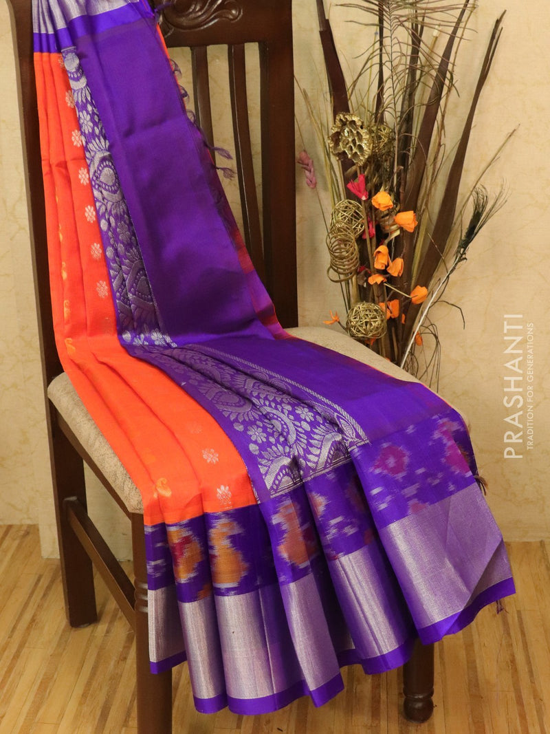 Kuppadam silk cotton saree orange and violet with zari woven buttas and ikat border