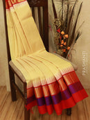 Kuppadam silk cotton saree sandal and red with thread woven temple zari border