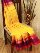 Kuppadam silk cotton saree yellow and pink with thread woven temple zari border