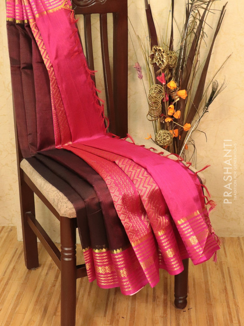 Kuppadam silk cotton saree coffee brown and pink with rich zari woven border