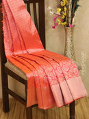 Pure Kanjivaram silk saree dual shade of pink and orange with allover zari weaves checked pattern and zari floral zari woven long border