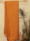 Semi crepe saree mustard yellow and maroon with all over prints and zari border