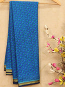 Semi crepe saree blue and navy blue with all over prints and zari border