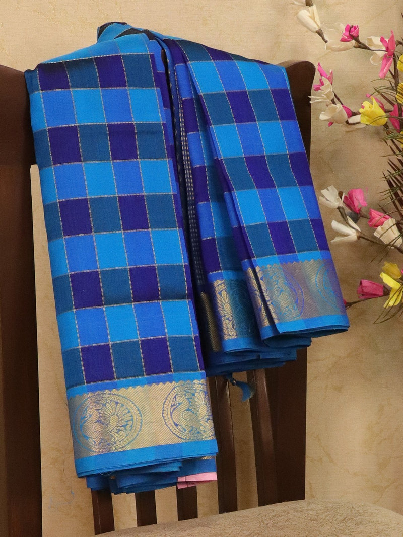 Silk cotton saree blue and cs blue with zari checks and rich zari woven border