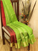 Silk cotton saree maroon and green with zari border vairavosi