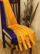 Silk cotton saree violet and mustard with zari woven buttas and border