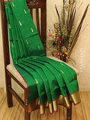 Silk cotton saree green and red with zari woven buttas and border