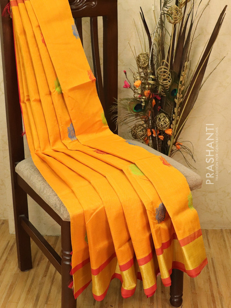 Silk cotton saree yellow and red with thread woven buttas and zari border
