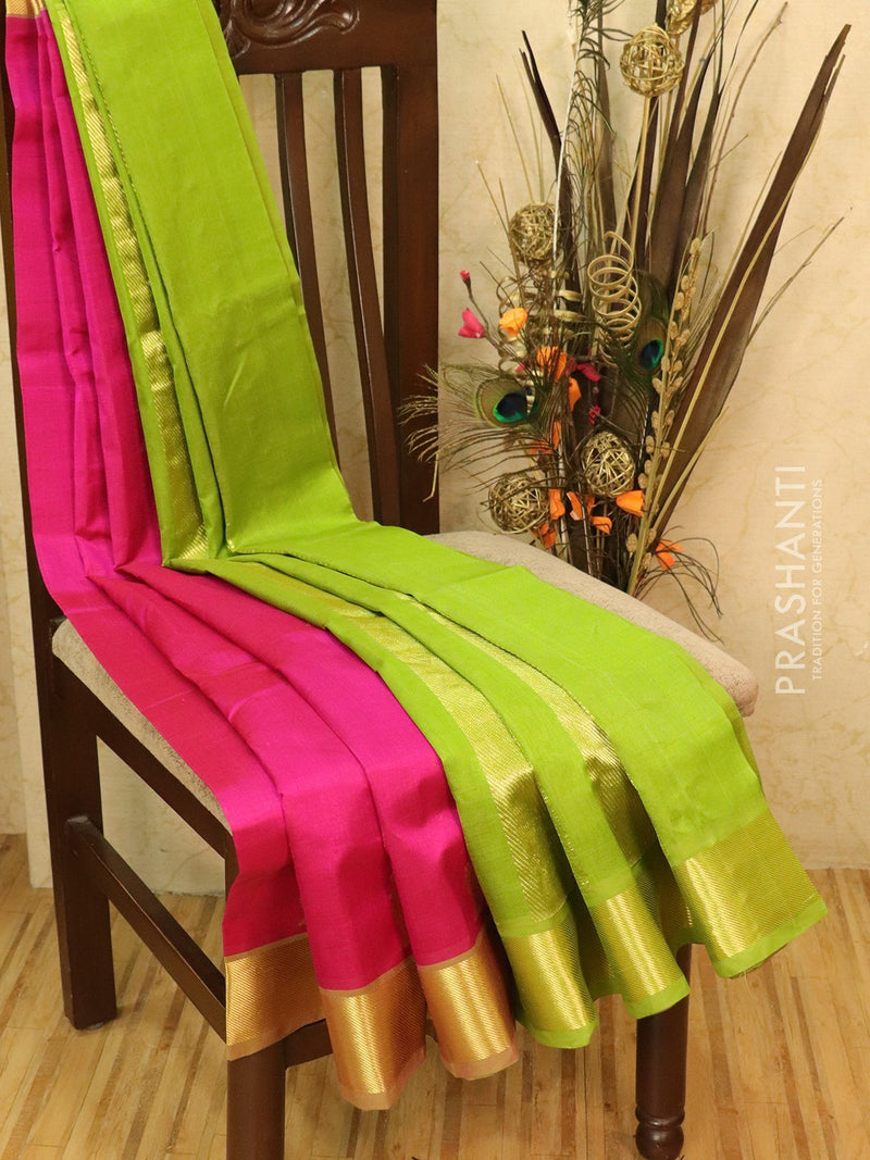 Silk cotton saree pink and green with zari woven buttas and border