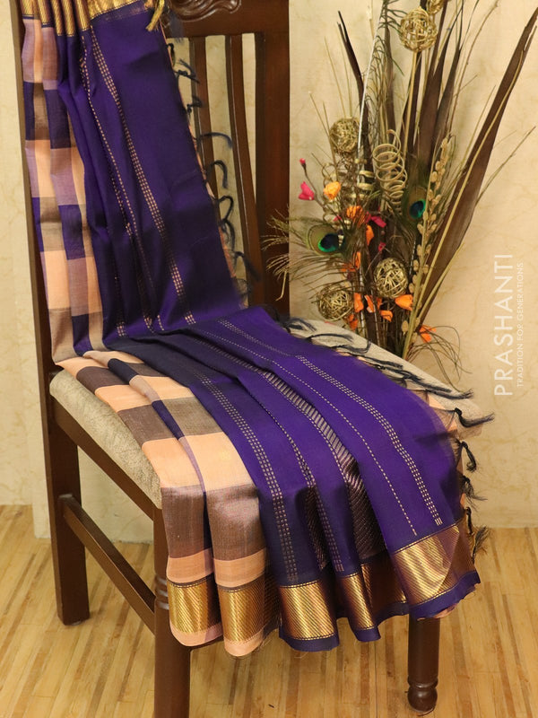 Silk cotton saree pastal shade and violet paalum pazhamun checks with zari woven butta and border