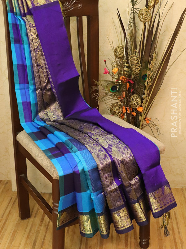 Silk cotton saree cs blue and violet paalum pazhamun checks with zari woven butta and border
