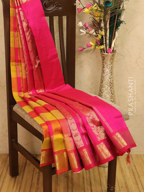 Silk cotton saree lime yellow and pink paalum pazhamun checks with zari woven butta and border