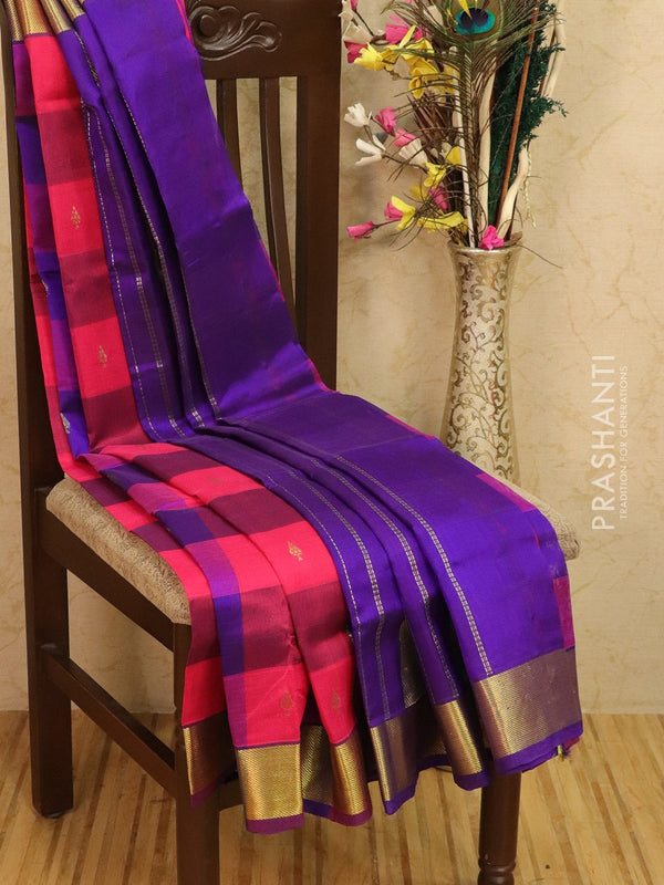 Silk cotton saree pink and violet paalum pazhamun checks with zari woven butta and border